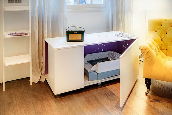 Cat Litter Box Inside A Living-room Table