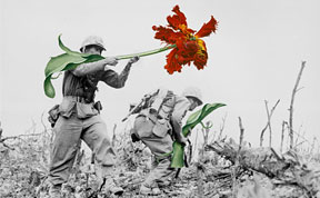 Artist Replaces Guns With Flowers In Historic Photos