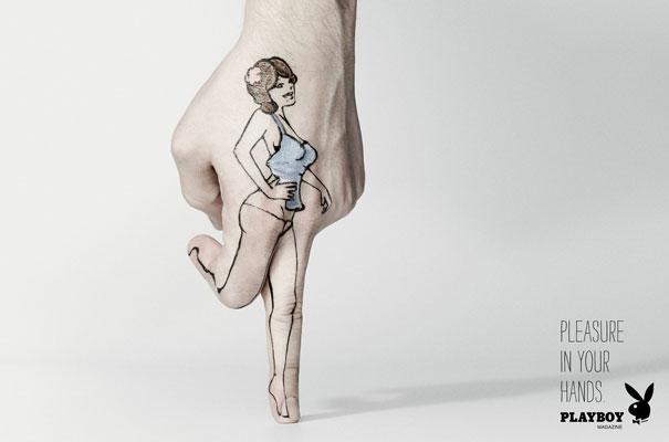Pleasure in your hands. Playboy Magazine Advertisement