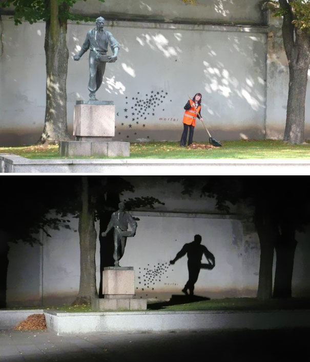 Ordinary Metal Sculpture Transforms Into Star Sower at Night