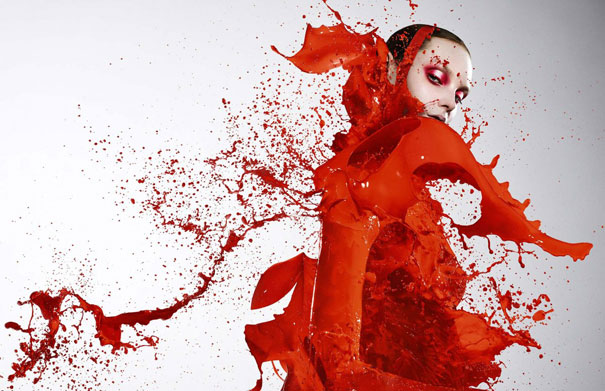 Models Dressed in Paint Splashes by Iain Crawford
