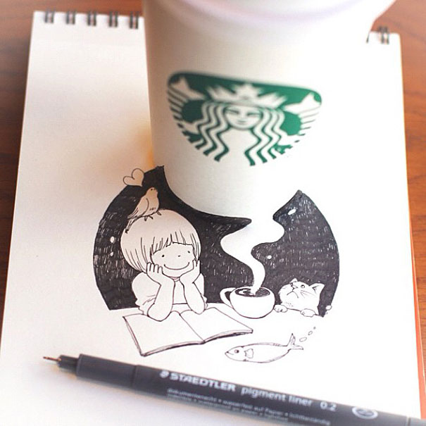 Starbucks Cups Become 3D Drawings