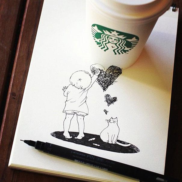 starbucks cups become 3d drawings bored panda