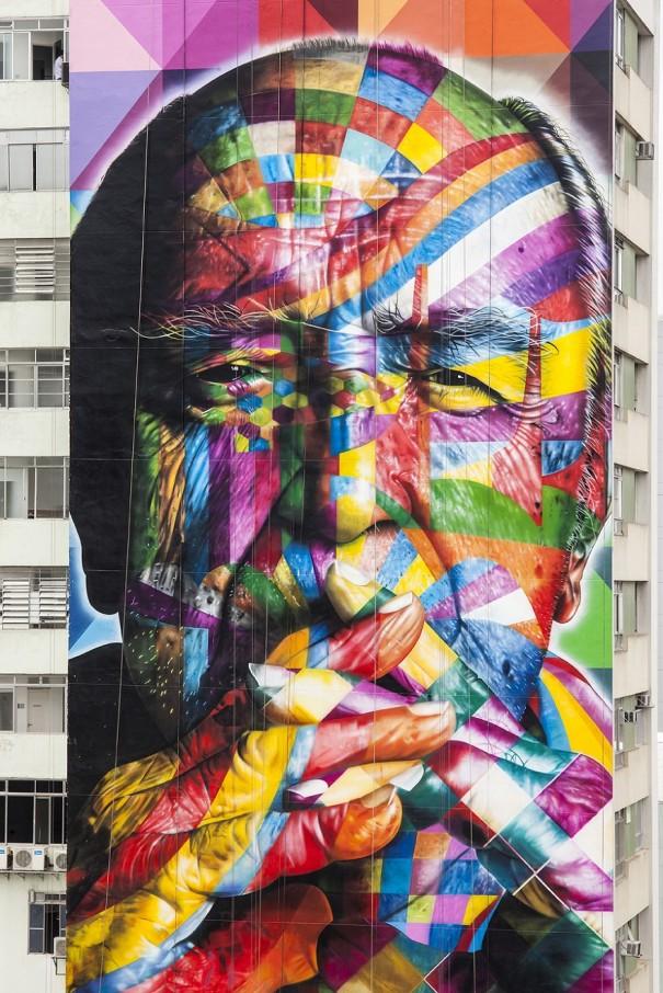 Large-Scale Mural By Eduardo Kobra In Commemoration of Oscar Niemeyer