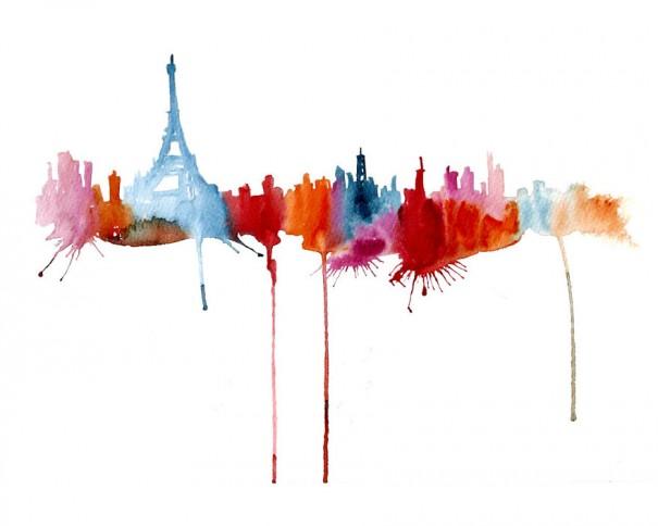 Abstract Watercolor Cityscapes by Elena Romanova