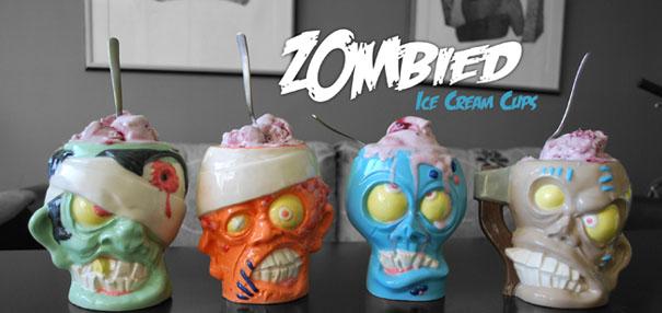 Zombie Head Ice-Cream Cups and Beer Mugs