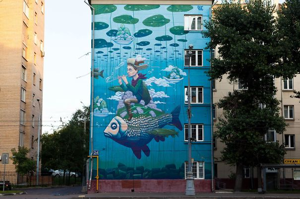 New Mural By Rustam Qbic In Moscow, Russia