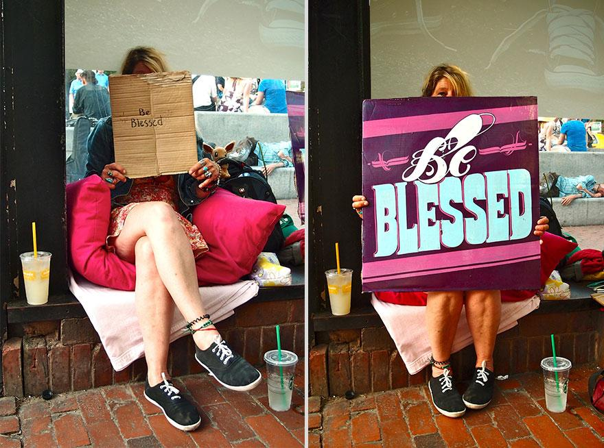 Artists Replace the Signs for the Homeless With New Fancy Typographic Versions