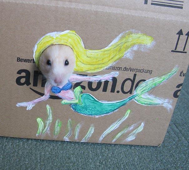 Girl Dresses Hamster Up In Cute Cardboard Costumes (4 pics)