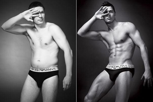 Regular Guys vs Male Supermodels Side-by-side In Underwear Ads