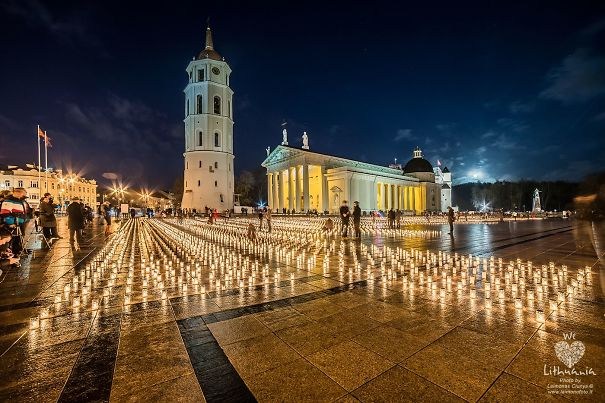 16 Thousand Candles In Vilnius Lithuania In Memory Of Those Who Died In Car Accidents