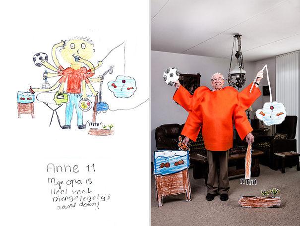 Grey Power: Elders Photographed According To Grandchildren's Drawings
