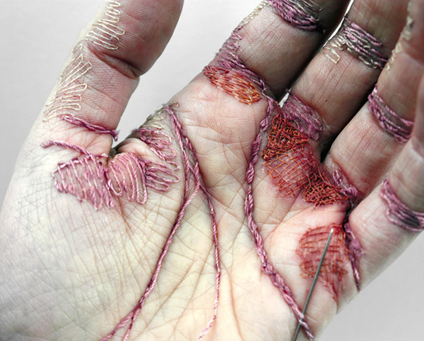 Artist Uses Her Skin As Canvas For Embroidery