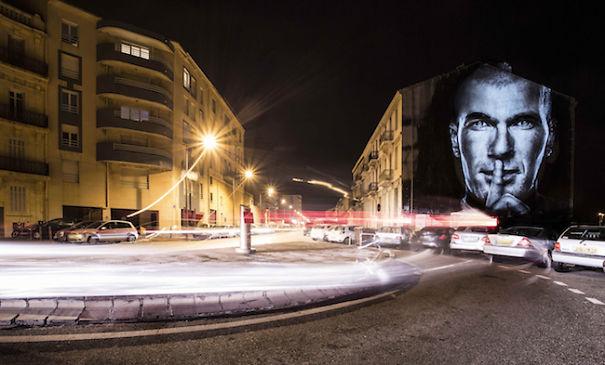 Some Great Street Art With Light!  (Featuring Zinedine Zidane)
