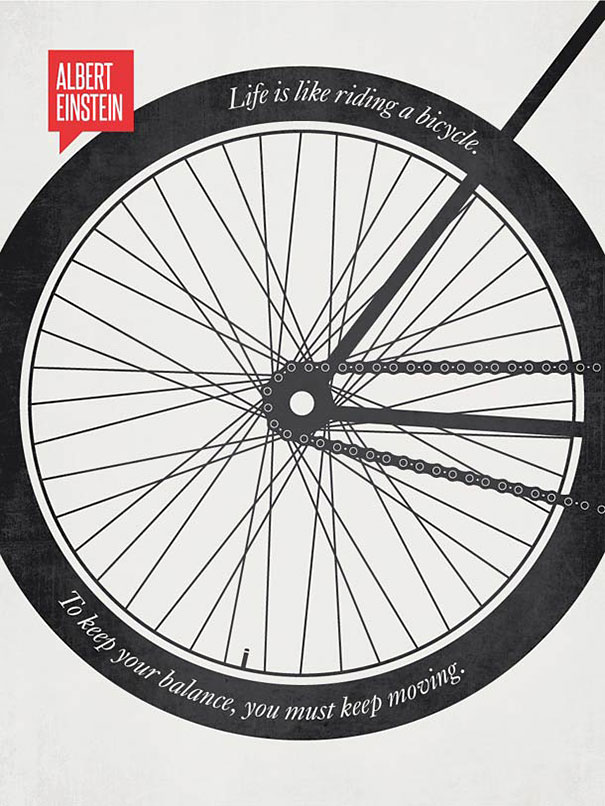 انیشیتین: زندگی مثل یک دوچرخه است! برای آنکه بتوانی تعادل آنرا حفظ کنی باید به حرکت بیفتی