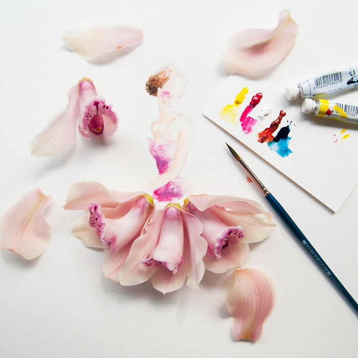 Artist Makes Lovely Illustrations Using Flowers, Food And Watercolor