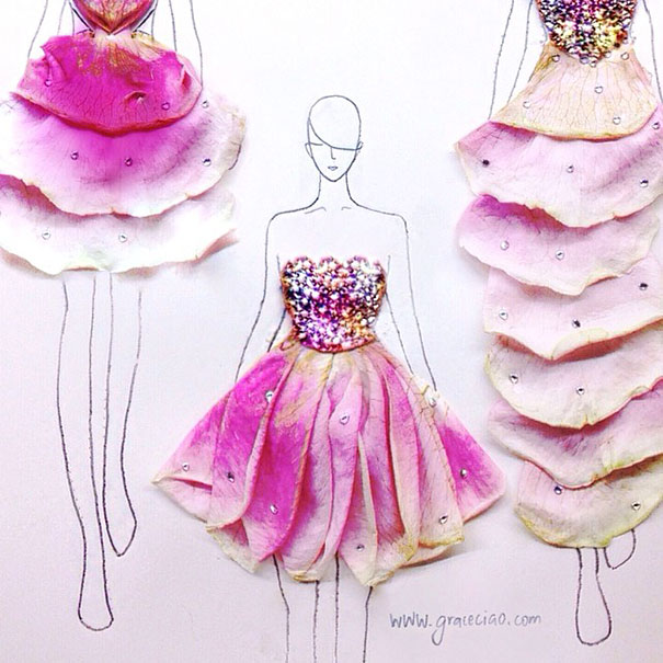 artist turns real flower petals into fashion design