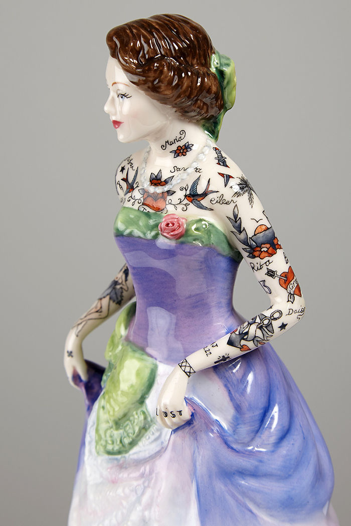 These Porcelain Dolls Look Perfectly Traditional Except For Their Sailor Tattoos
