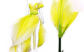 Artist Turns Real Flower Petals Into Fashion Design Illustrations