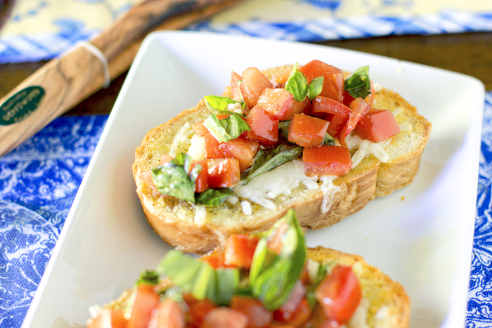 Caprese Crostini (crostini W/ Mozzarella, Tomato, Basil, And Herbs)