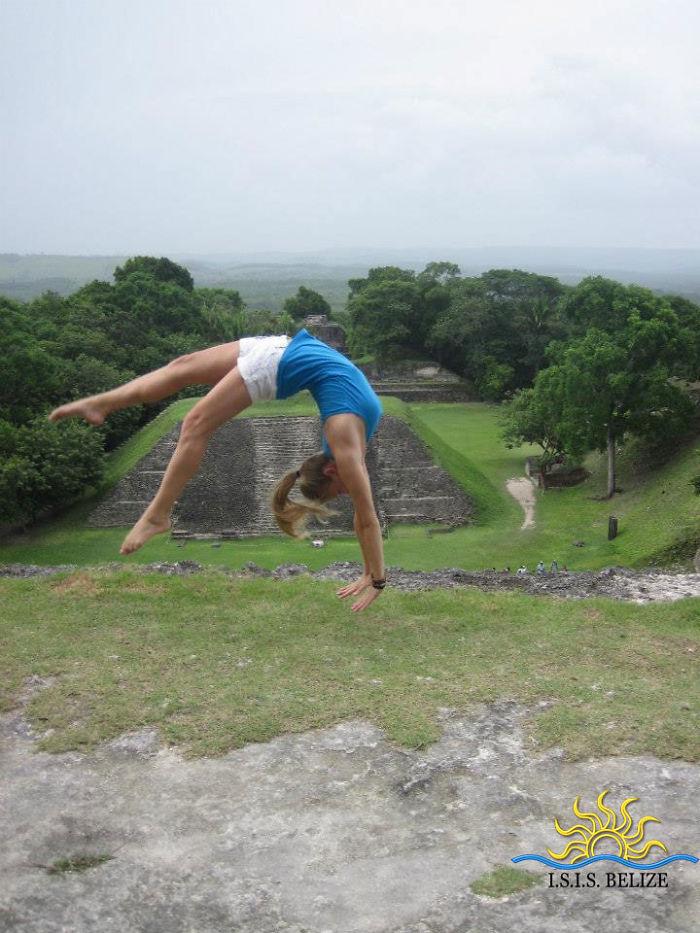 Student Puts On An Acrobatic Show Ontop Of Xunantunich, A Maya Ruin In Belize