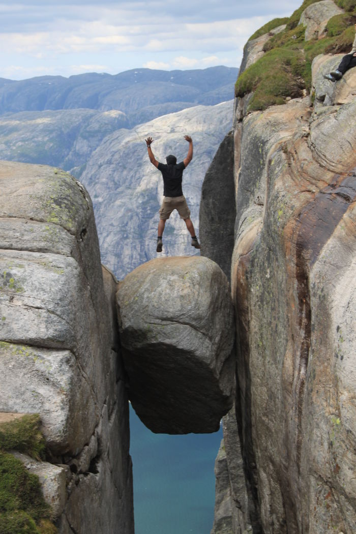 Jumping On The Kjeragbolten!