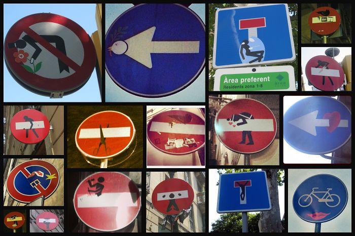 Clet Abraham – Traffic Signs – Barcelona, Spain