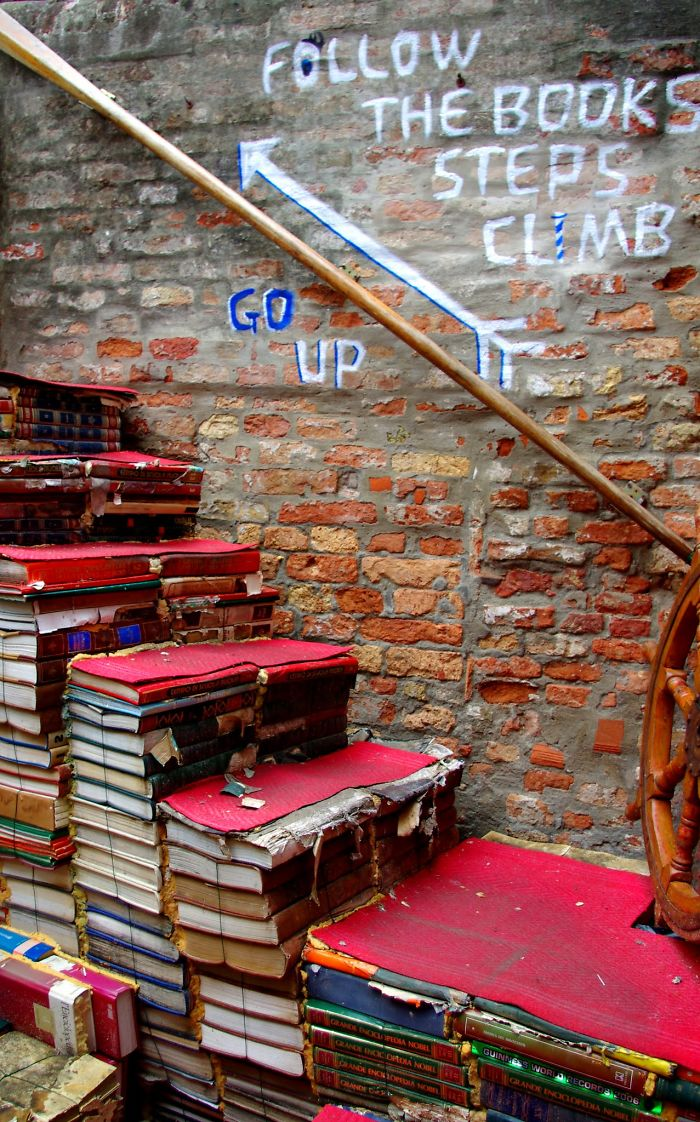 Steps At The Most Beautiful Bookshop In The World: The Libreria Acqua Alta, Venice