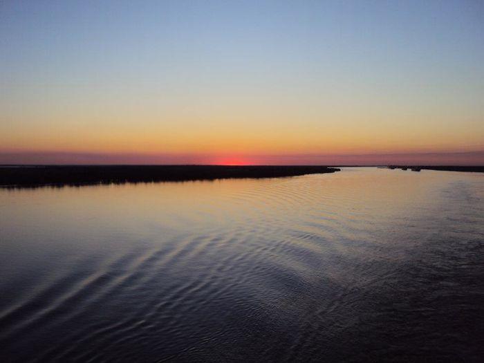 Serene Sunset On The Mississippi River Delta, Louisiana, Usa.