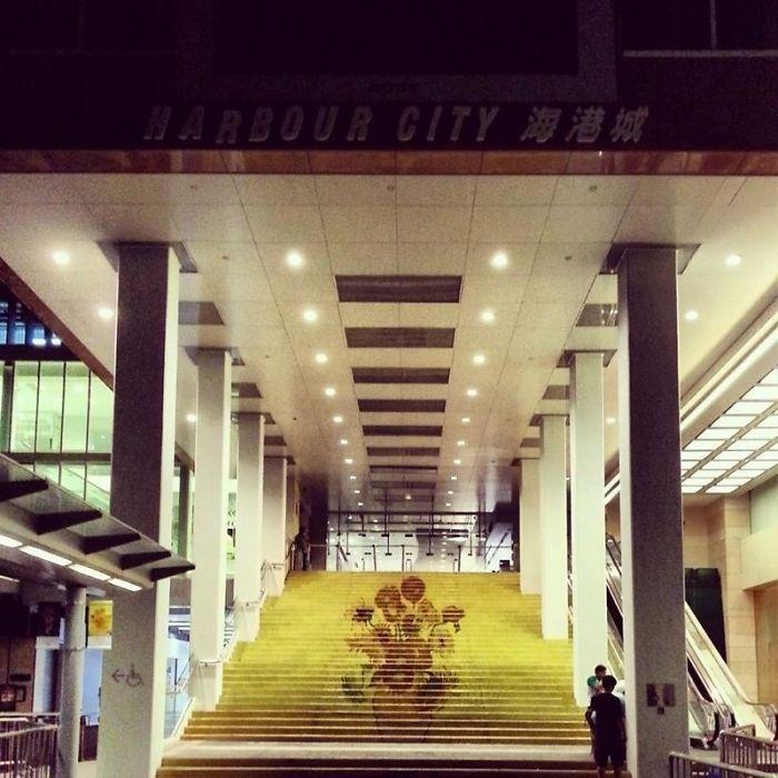 Vincent Van Gogh 'sunflowers' Stairs, Hong Kong