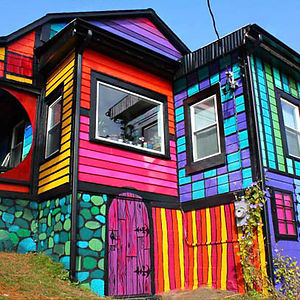 Exterior house color schemes - Rainbow House In Brooklyn
