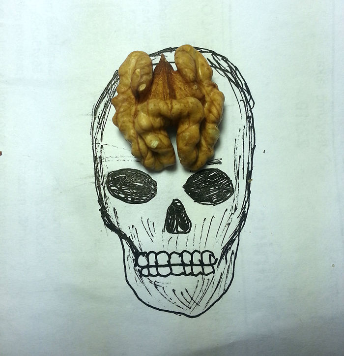 Skull With Walnut Brain