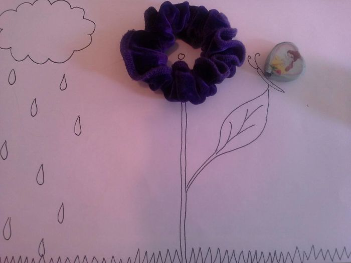Hairband Flower With An Eraser Butterfly By Lorniebear