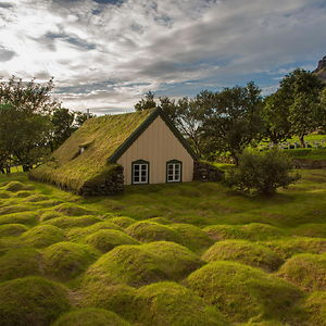 Hofskirkja, Iceland. The Humps On The Grass Are Ancient Graves