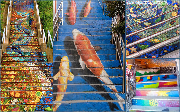 Widescreen Collage Of Steps