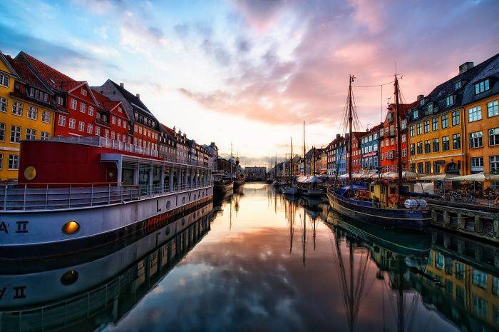Sunset At Nyhavn - Copenhagen - Denmark