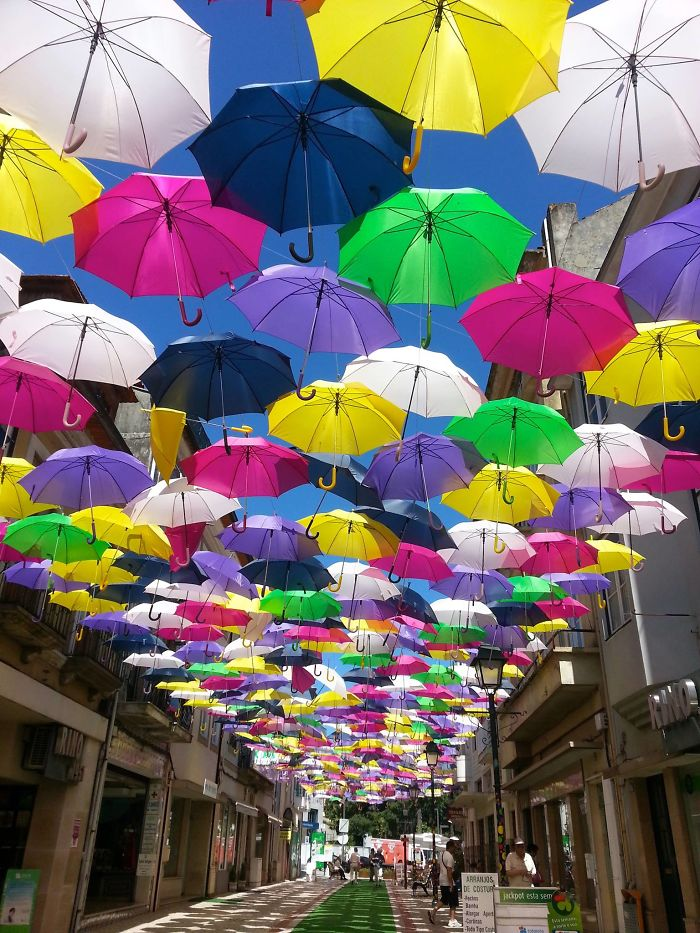 Umbrellas In The Streets Of Agueda, Portugal