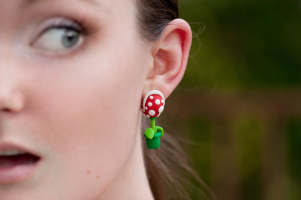 Cool Super Mario Piranha Plant Earrings