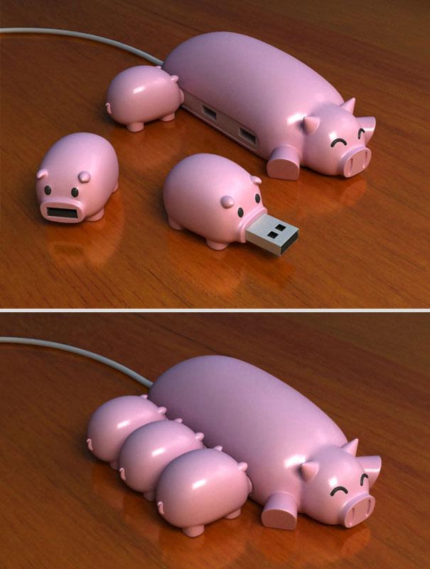 Pig Buddy: Cutest USB Hub & Flash Drives Ever