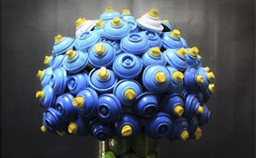 Discarded Spray Cans turned into Flower Bouquets