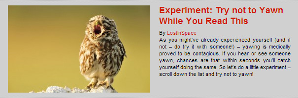 Experiment: Try not to Yawn While You Read This