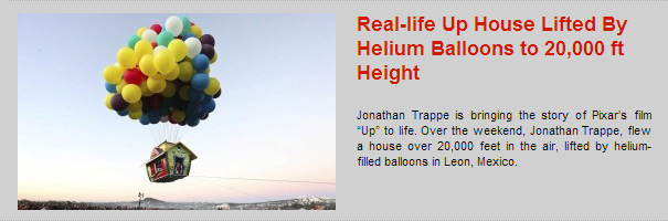 Real-life Up House Lifted By Helium Balloons to 20,000 ft Height