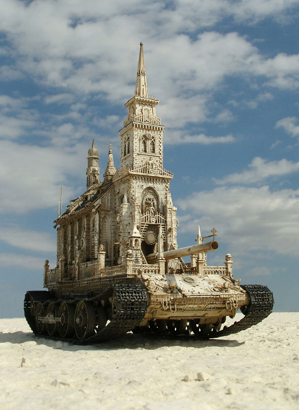 Churchtanks: Sculptures of Churches Turned Into Tanks