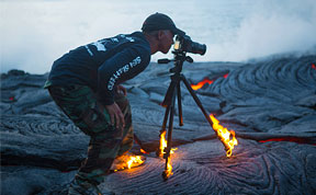 Photographer Catches Fire While Shooting Lava