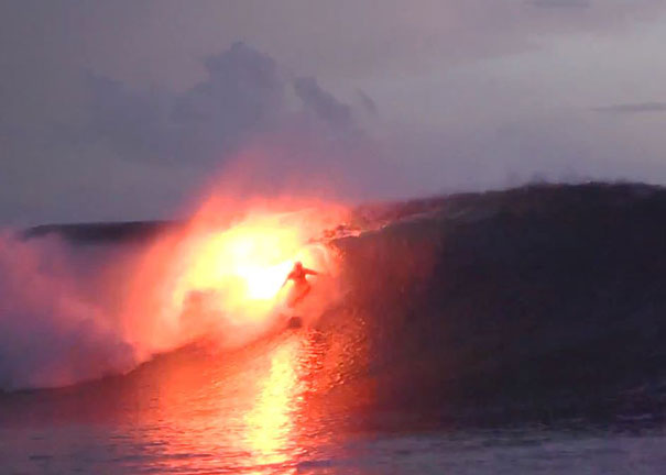 Surfers Set The Sea on Fire With Flares