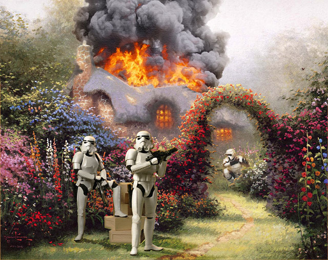 Artist Creates Bizarre Mash-Up Of Star Wars and Kinkade Paintings