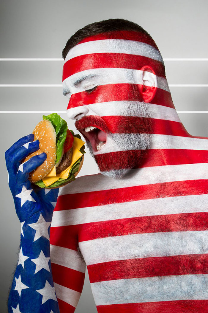 Fat Flag: Models Body-Painted With Flags Eating Their National Foods