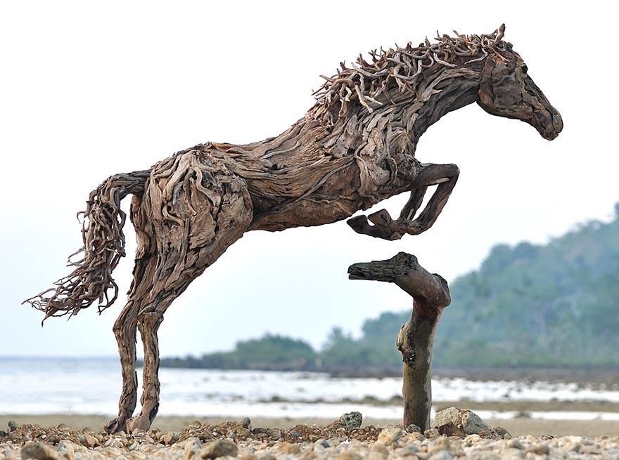 Perfect Breathtaking Driftwood Horse Sculptures by James Doran-Webb  QV55