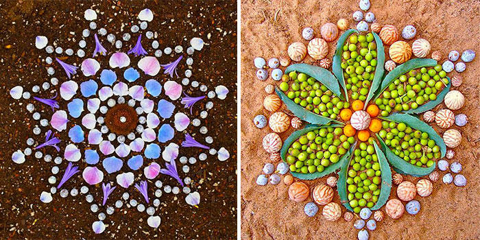 Colorful Mandala Designs Made From Flowers And Plants By Kathy Klein