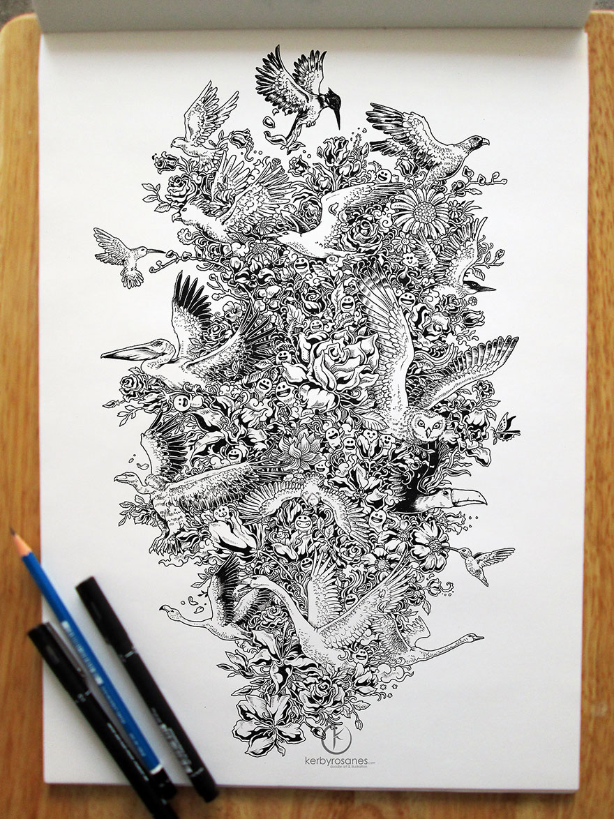 Impressively detailed pen doodles by kerby rosanes bored for Kerby rosanes